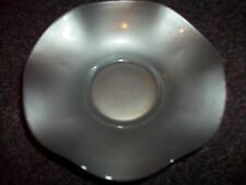 vintage glazed silver glass candy dish metal looking very unique 5 3/4 inches ap