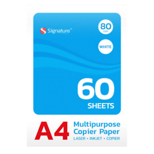 60 Sheets A4 Paper 80gsm Bright White Printer Copier Office Home Copy Printing