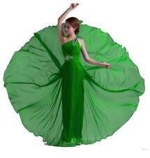 DL Fashion One Shoulder Floor Length Beaded Chiffon Prom Dress Green US 4