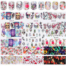 10Sheets Nail Art Water Decals Transfer Stickers Manicure Lot Skull Flowers