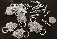 10 Grape leaf clasps antique silver plated zinc toggle clasp 2 piece sets fpc065