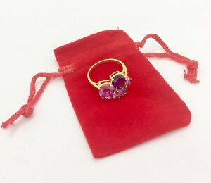 Stunning Purple Multi CZ 9ct Gold Plated on 925 Silver Ring, RRP £34.99