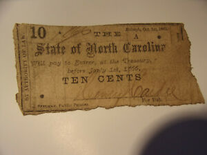 Antique Raleigh, North Carolina 10 cent Fractional Currency Note - 1861