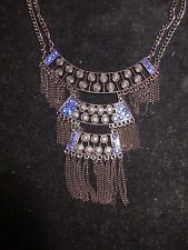 GUESS NWT Collar Statement Rhinestone Blue Jeweled Chains Dangle Necklace Black