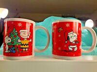 Set of 2 PEANUTS CHRISTMAS Mugs  Snoopy Woodstock Charlie Brown  Made by Galerie