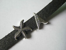 10 Tibetan Silver Starfish Charms Slider Spacer 11x2mm For Flat Leather Cord