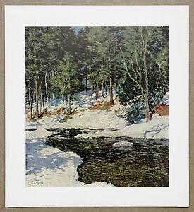 William Leroy Metcalf   Ice Bound  Rare  Vintage Original Lithograph Print