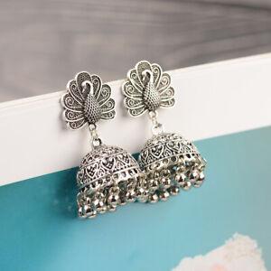Vintage Silver Tassel Ethnic Peacock Jhumka Earrings Wedding Indian Jewelry