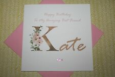 Handmade Personalised Floral Name Birthday Card Daughter Mother Friend