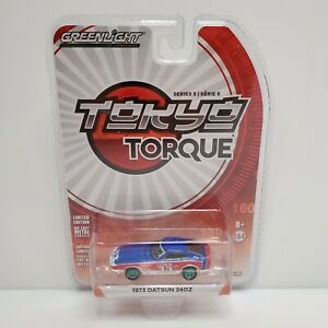 Rare Greenlight Tokyo Torque 1973 Datsun 240Z Green Machine Chase Red White Blue
