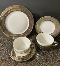 Vintage Rosenthal Silver Overlay Cups, Saucers, Plate. Bavaria  Germany