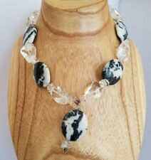 Zebra Agate Rock Crystal Statement Necklace Sterling Silver Clasp Statement
