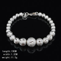 925 Silver Bead Cuff Bracelet Bangle Chain Wristband Fashion Women Jewelry