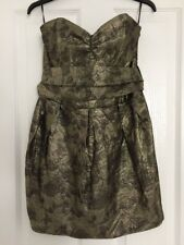 BNWT THERAPY HOUSE OF FRASER Gold Textured Floral Strapless Party Dress Size 14