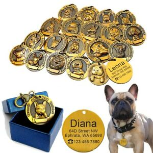 3D Gold Personalised Dog Tags 18 Different Breeds Free Name Engraved Collar Tags