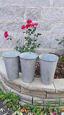 OLD Maple Syrup 3 Galvanized LARGE Sap Buckets ORIGINAL Flowering DECOR