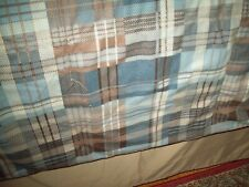 Woolrich Bedding Comforter Set Full Queen Blue/Brown Plaid 2 Shams Dust Ruffle