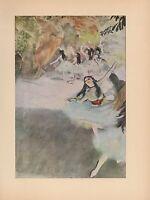 "1951 Vintage DEGAS ""ON THE STAGE"" BALLET DANCERS COLOR Art Print Lithograph"