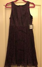 NWT $398 Nanette Lepore Pretty Pleats Embroidered Flare Dress Merlot Size 6