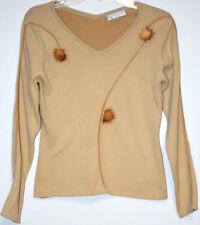 Black Cat Fashion LA BC Woman Knit Top Size S-M Sweater V-Neck Beige