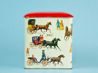 VINTAGE HORSE AND CARRIAGE TIN Square Metal Cannister With Lid
