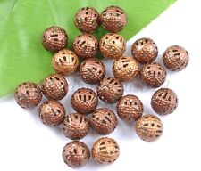 GOLD & SILVER PLATED,BRONZE,COPPER,Metal FILIGREE Spacer BEADS - Choose 6-12MM