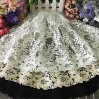 5 Yards Delicate embroidered flower tulle cotton lace trim Sewing Wedding DIY