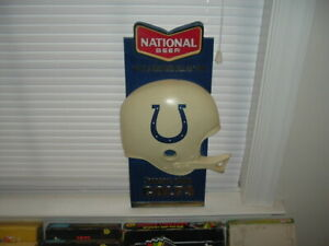 "1960's National Beer Baltimore Colts Football Advertising Sign 10"" by 20"""