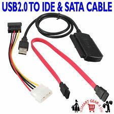 "USB2.0 USB TO 2.5"" IDE 3.5"" ATA SATA HDD HARD DRIVE DISK CABLE ADAPTER CONNECTOR"