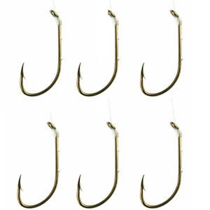 Eagle Claw Snelled Baitholder Hooks 6-Pack - 8 - Bronze