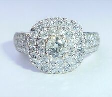 18ct White Gold 0.84ct Diamond Square Cushion Cluster Double Halo Ring, Size K