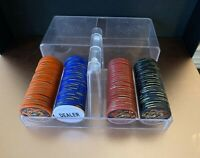 Vintage PP Clay POKER CHIPS with Clear Case Dealer Button Casino Texas Hold-Em