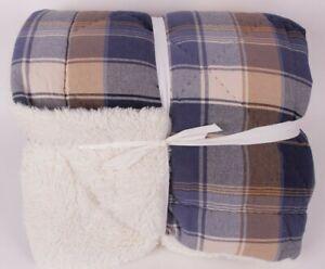 Pottery Barn Teen Aspen Plaid Sherpa FQ comforter full queen navy *photo studio