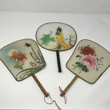 3x Vintage Japanese Handpainted On Silk Hand Fans - 2 with Bamboo Handles