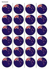 24X PRECUT NEW ZEALAND FLAG EDIBLE WAFER PAPER, CUPCAKE, CAKE TOPPERS 1215