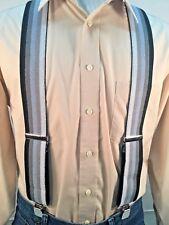 "New, Men's Gray Ombre Stripe, XL, 2"", Adj. Suspenders / Braces, Made in the USA"
