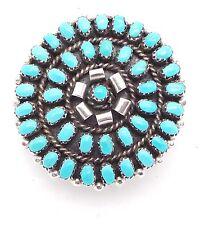 Zuni Handmade Sterling Silver Turquoise Petit Point Pendant/Pin Lorencita Walela