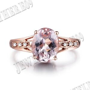 Fine Jewelry 1.75CT Oval 9x7mm Morganite Diamonds Gift Ring Solid 18K Rose Gold