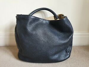 YVES SAINT LAURENT YSL Rive Gauche Black Leather THE ROADY Perforated Hobo Bag