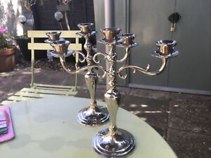 Pair Of Triple Sconce Stainless Steel Candelabra