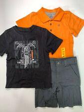 Calvin Klein Jeans Boy's 3 Piece Set Orange Polo Short Tee Shirt Outfit ~ Sizes