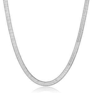 Herringbone Necklace Stainless Steel Snake Chain 16,18 Inch Unisex Women Mens