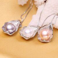 Damen Halskette Silber 925 10-11 mm Natürliche Süßwasser Perle Anhänger Geschenk