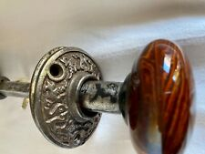 Pair of Bennington Style door knobs with Antique shanks and plate rosettes