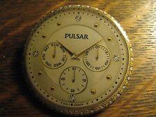 Pulsar Gold Rhinestone Wrist Watch Logo Advertisement Pocket Lipstick Mirror