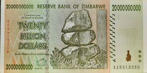 20 Billion Zimbabwe Dollars Banknotes, Year: 2008 AA Prefi