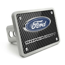 "Ford Super-Duty 3D Logo Carbon Fiber Texture Billet Aluminum 2"" Tow Hitch Cover"