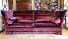 Duresta Pagoda 3/4 Seater Purple Velvet Drop Arm Sofa