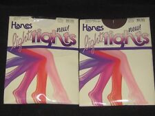 Vintage Hanes Light Tights Stockings Magenta & Brown Lot Both Size E-F Plus