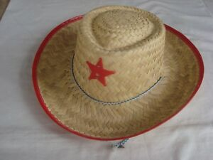 Child's COWBOY/COWGIRL Hat Straw  With RED Trim & RED  Badge Brand NEW